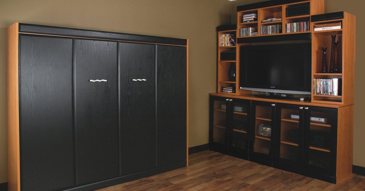 custom black murphy bed storage and home office