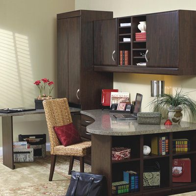 home office desk and brown storage cabinets