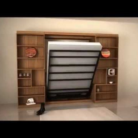 murphy bed and book shelves rendering