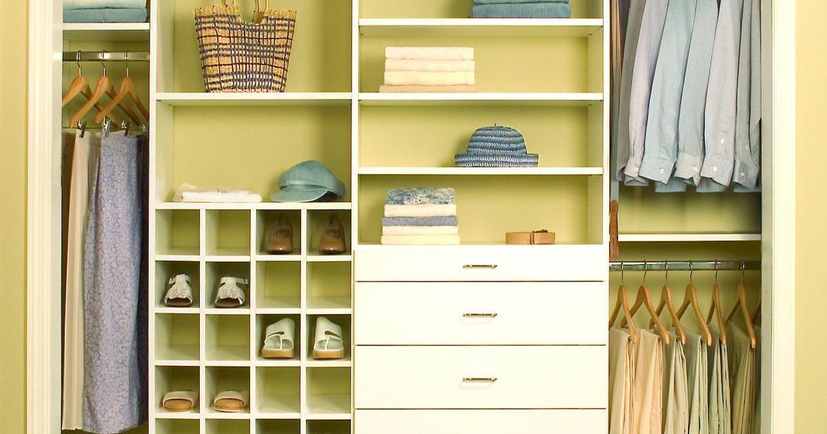 antique white closet organizer and storage