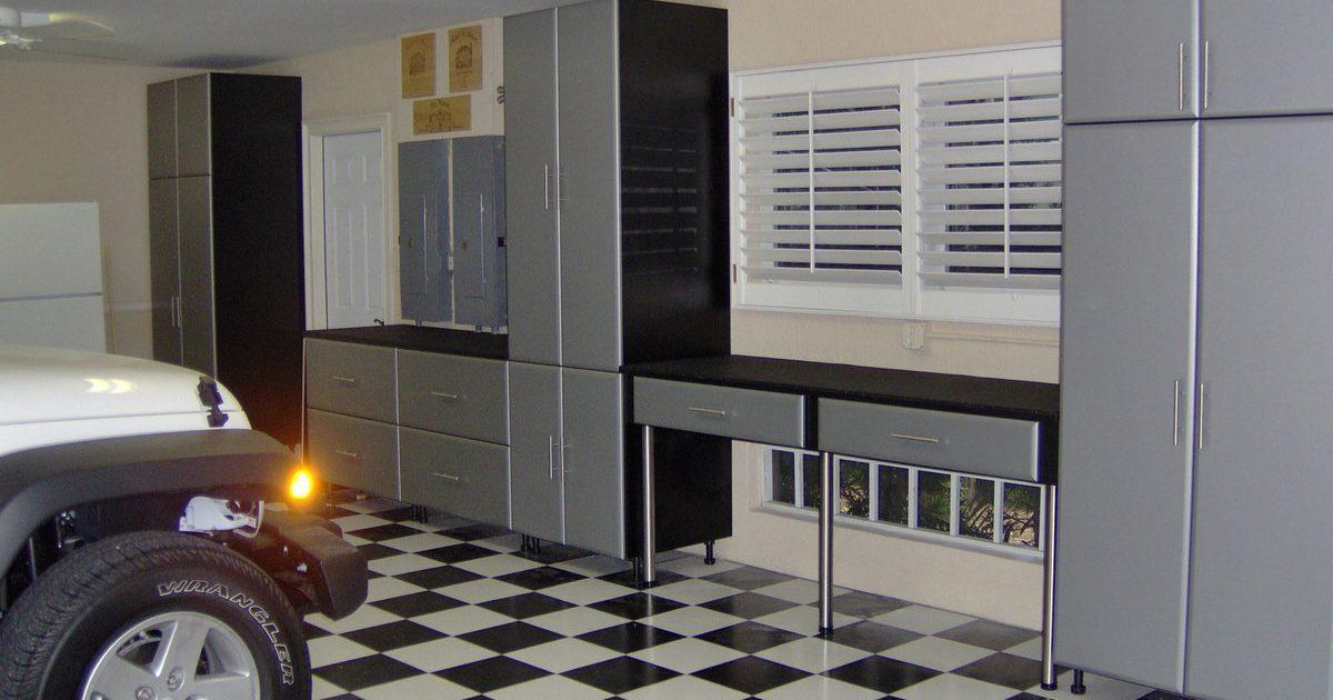grey garage storage with suv vehible