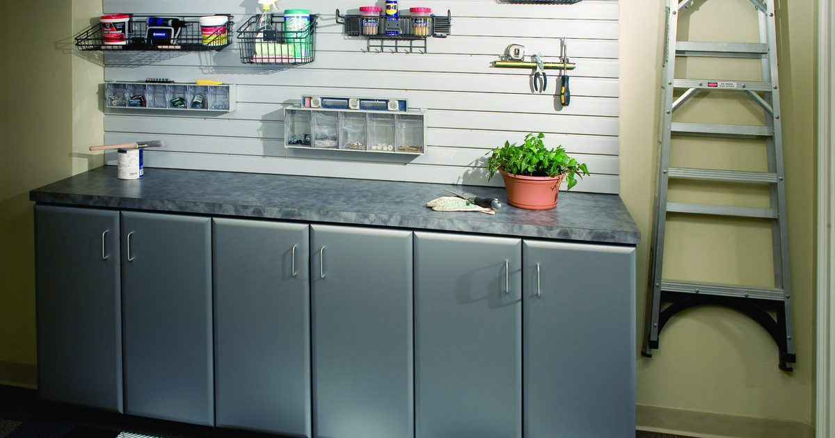 grey garage storage with work bench