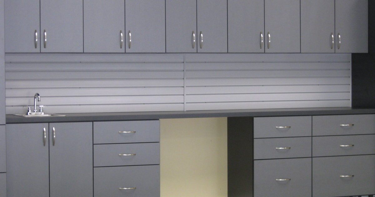 grey garage storage cabinets with wall system